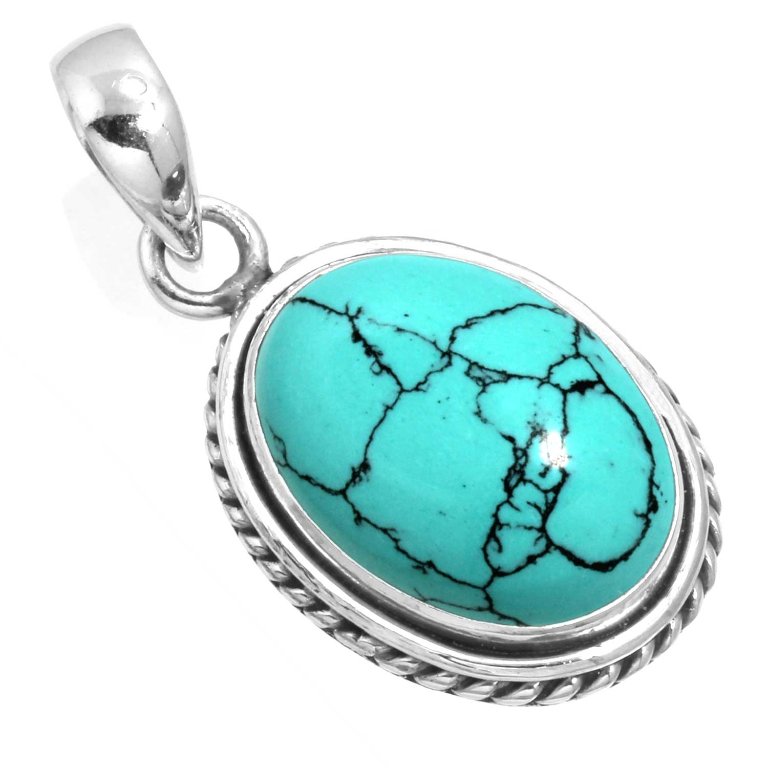 wholesale Sterling Silver Gemstone Pendant (99548_TQR_P_rt)