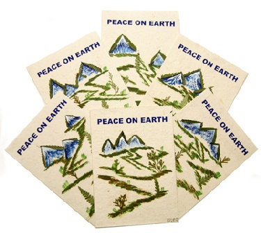 wholesale Peace on Earth Rice Paper Greeting Cards Set of 6 (Cards_Peace)