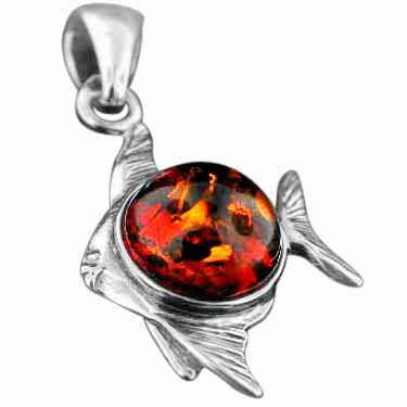 wholesale Sterling Silver Baltic Amber Earrings (amb_charm_fish)