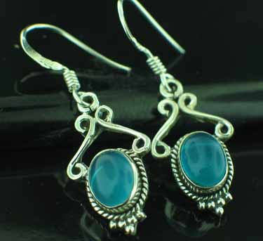 wholesale Sterling Silver Gemstone Earrings (ee645bl)
