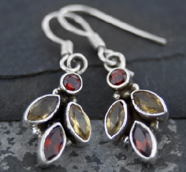 wholesale Sterling Silver Gemstone Earrings (es205tpf_grf)